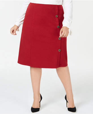 NY Collection Plus Size & Petite Plus Button-Side Skirt