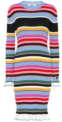 MSGM Striped wool-blend midi dress