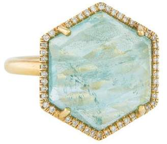 Irene Neuwirth 18K Aquamarine & Diamond Hexagonal Ring