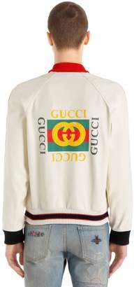 Gucci Logo Printed Perforated Leather Jacket