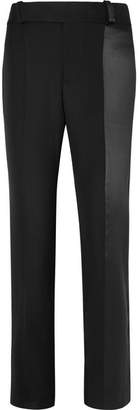 Haider Ackermann Satin-paneled Wool Straight-leg Pants - Black