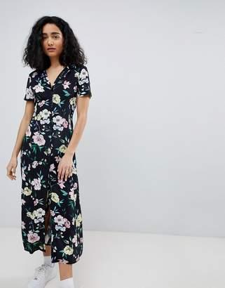 Bershka floral midi shirt dress in black