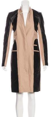 Yigal Azrouel Leather-Paneled Knee-Length Coat w/ Tags