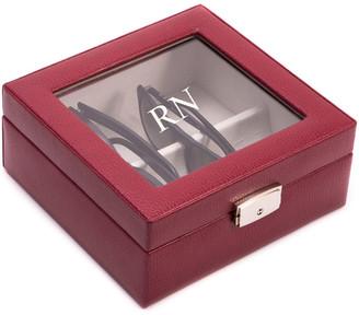 Bey-Berk Monogrammed Red Leather Eyeglass Case