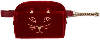 Charlotte Olympia Red Velvet Purrrfect Belt Bag