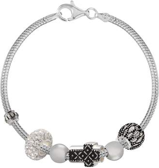 Individuality Beads Crystal Sterling Silver Snake Chain Bracelet, Sideways Cross & Openwork Bead Set
