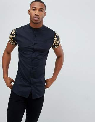 SikSilk grandad collar shirt in black with baroque print jersey sleeves