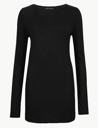 Marks and Spencer Round Neck Long Sleeve Longline Slub T-Shirt