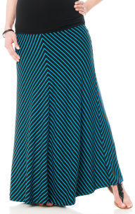 A Pea in the Pod Pull On Style Full Length Striped Maternity Skirt