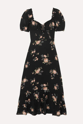 Reformation Cabernet Floral-print Georgette Midi Dress - Black
