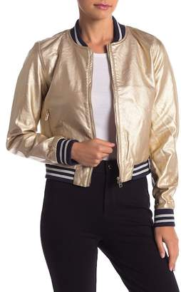 Romeo & Juliet Couture Faux Leather Metallic Bomber Jacket