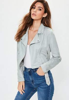 Missguided Faux Suede Biker Jacket Gray