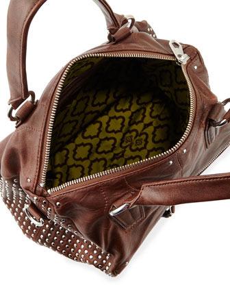 Oryany Dora Circle Studded Leather Satchel/Shoulder Bag, Cognac