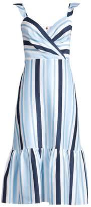 Draper James Ruffle Stripe Midi Dress