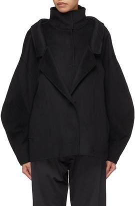 YAJUN Layered turtleneck placket panel unisex melton jacket