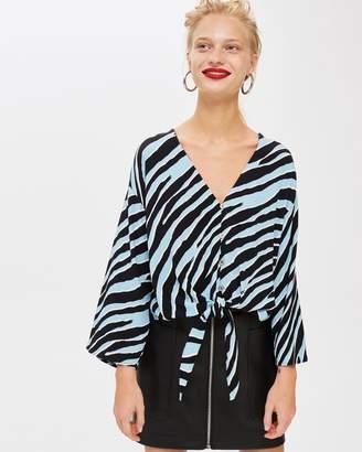 Topshop Zebra Print Tie Front Blouse