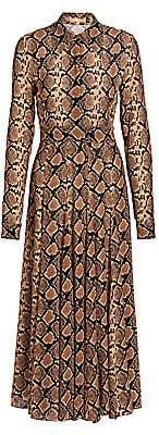 Michael Kors Women's Crushed Snakeskin-Print Silk Shirtdress - Size 0