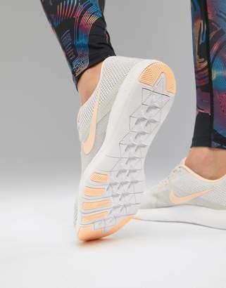 Nike Training Flex Sneakers In Grey With Peach Swoosh