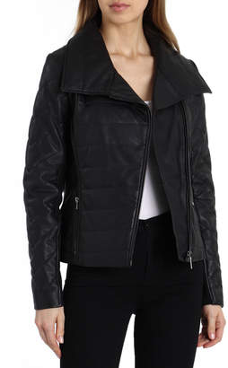 Badgley Mischka Blakely Envelope-Collar Quilted Leather Jacket