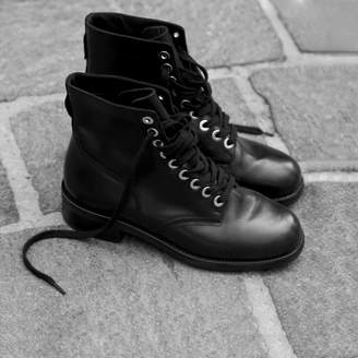 Sandro Biker boots with gold eyelets