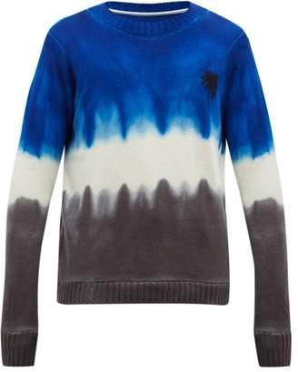 The Elder Statesman Tie Dyed Palm Tree Motif Cashmere Sweater - Mens - Blue White