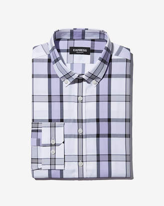 Express Slim Plaid Wrinkle-Resistant Performance Dress Shirt
