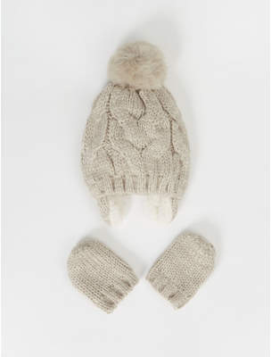 Bobble George Grey Cable Knit Ear Flap Hat and Mittens Set