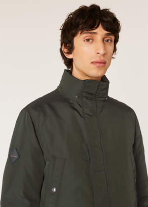 Paul Smith Men's Olive Green Down-Filled Parka With Gradient 'Artist Stripe' Lining