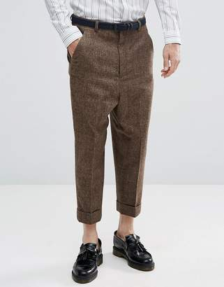 Asos Drop Crotch Tapered Smart Trousers In Wool Mix Brown Check