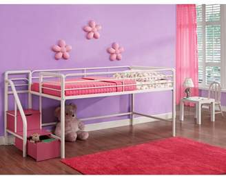 LOFT Generic DHP Junior Twin Bed with Storage Steps, Pink and White