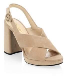Prada Suede Ankle Strap Platform Sandals