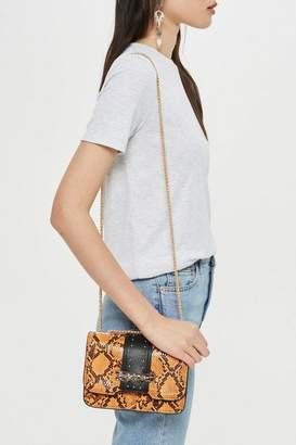 Topshop Panther Snake Print Piece Cross Body Bag