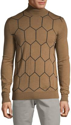 Boglioli Printed Turtleneck Wool Sweater