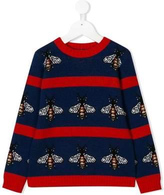 Gucci Kids striped bee intarsia sweater