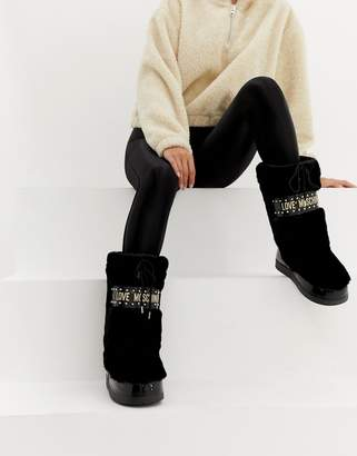 Love Moschino Faux Fur Stud Snow Boots