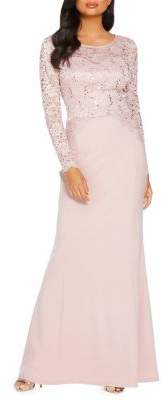 Quiz Long-Sleeve Sequin Lace Gown
