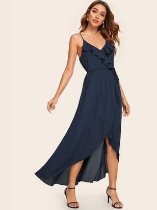 Shein Ruffle Trim Tie Waist Wrap Asymmetrical Cami Dress