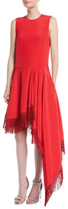 Calvin Klein Sleeveless A-Line Silk Dress w/ Fringe Hem