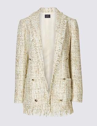 Marks and Spencer Textured Longline Fringe Blazer