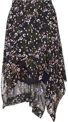 Isabel Marant Myles Floral-print Fil Coupé Silk-blend Georgette Skirt - Midnight blue