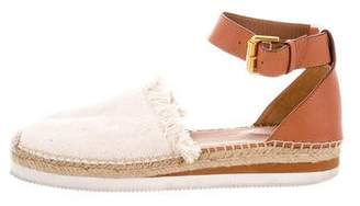 See by Chloe Round-Toe Leather-Accented Sandals