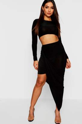 boohoo Long Sleeve Top + Wrap Detail Mini Skirt Co-Ord