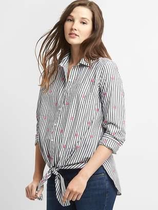 Gap Maternity Long Sleeve Tie-Front Shirt in Poplin