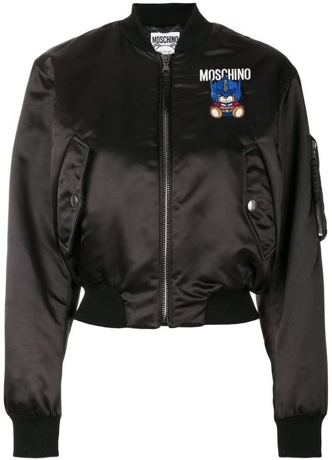 Moschino Robot bear patch bomber jacket