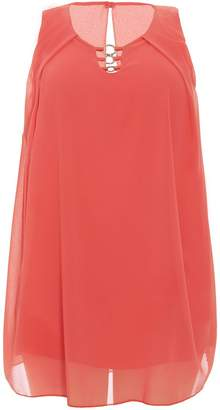 Quiz Curve Coral Ring Detail Tunic Dress