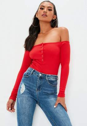 Missguided Red Button Front Long Sleeve Ribbed Bardot Bodysuit