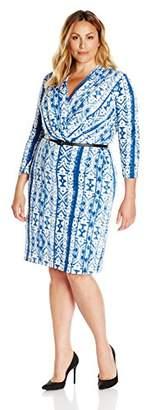 Single Dress Women's Plus Size Faux Wrap Ity Knit Slider Belt $8.73 thestylecure.com