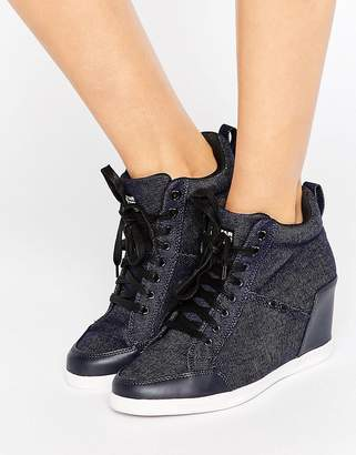 G-Star New Labor Denim Wedge Sneakers $190 thestylecure.com