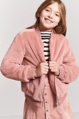 Forever 21 Girls Faux Fur Bomber Jacket (Kids)