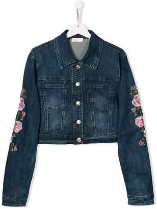 MonnaLisa TEEN floral denim jacket